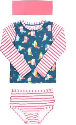 RuffleButts You're The Tweetest Two-Piece Rashguard Swimsuit & Head Wrap Set