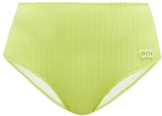 Solid & Striped The Beverly High-rise Ribbed Bikini Briefs - Womens - Green