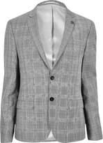 River Island Mens Ecru skinny fit suit jacket