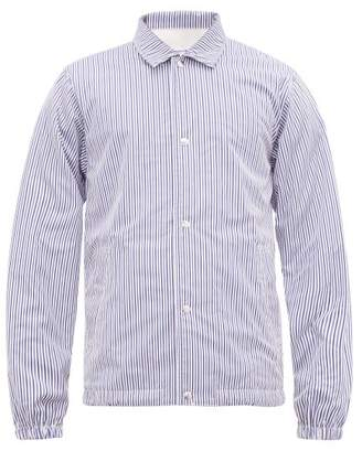 Comme des Garcons Fleece Lined Striped Cotton Field Jacket - Mens - Blue Stripe