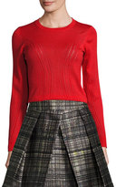 Milly Corsetry-Stitched Wool Crewneck Sweater, Red