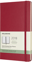 Moleskine 12-Month Large Weekly Diary/Notebook 2018 Planner, Berry Rose