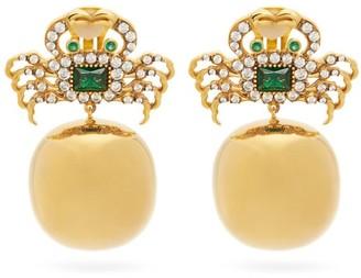 BEGÜM KHAN Crab 24kt Gold-plated Clip Earrings - Crystal