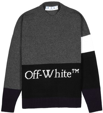 Off-White Colour-blocked Logo-intarsia Wool Jumper