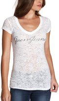 GUESS Womens V-neck Burnout Top T-shirt (L, )