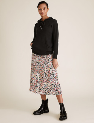 Marks and Spencer Floral Plisse Midi Straight Skirt
