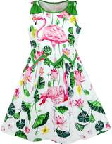 Sunny Fashion LG72 Girls Dress Flamingos Lotus Print Wave Waist Bow Tie