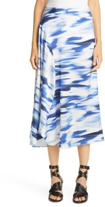 Zero Maria Cornejo Print Stretch Silk Circle Midi Skirt
