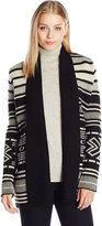 BB Dakota Women's Sloane Pattern Cardigan with Rib Collar