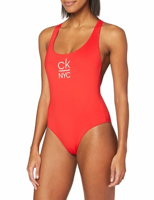 Calvin Klein Women's Racer Back ONE Piece Bikini Top