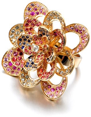 Madhuri Parson Peacock Convertible 14K Yellow Gold Sapphire Topaz Ring