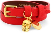 Alexander McQueen Goldtone & Leather Double Wrap Charm Bracelet