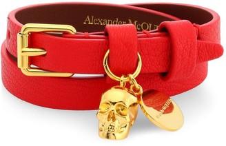 Alexander McQueen Goldtone & Leather Double Wrap Charm Bracelet