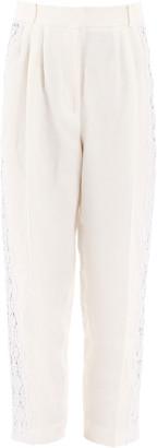 Alexander McQueen DAMASK LINEN PANTS WITH LACE 40 White Linen, Cotton