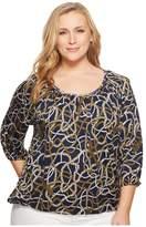 MICHAEL Michael Kors Plus Size Scattered Tassel Scoop Neck Top Women's Clothing
