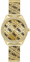 GUESS Claudia Gold Sunray and Black Logo Crystal Set Dial Gold and Black Logo Print Stainless Steel Mesh Strap Ladies Watch