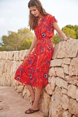 Next Womens Red Print Midi Ruffle Dress - Red