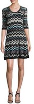 M Missoni Half-Sleeve Lurex® Zigzag Dress, Black