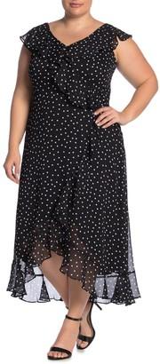 London Times Polka Dot Faux Wrap Dress (Plus Size)