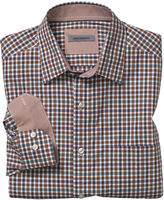 Johnston & Murphy Tailored Fit Earth-Tone Textured Gingham Shirt