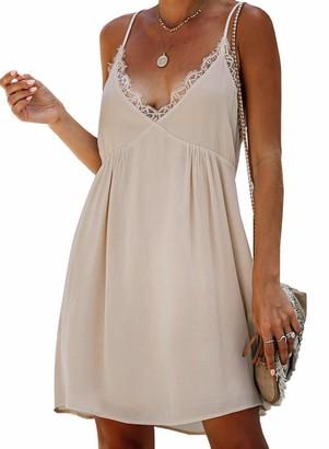 Dearlove Women's Strap Dress Sleeveless V Neck Midi Dress with Button T-Shirt Loose Dresses(220704Green-M)