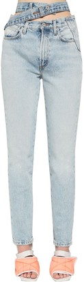 Heron Preston Belted Straight Leg Jeans W/ Cut Out