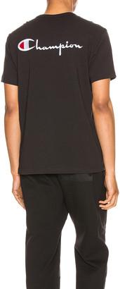 Champion Reverse Weave Crew Short Sleeve Tee in Black | FWRD