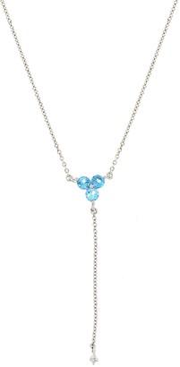Bony Levy 18K White Gold Blue Topaz & Diamond Drop Y-Drop Necklace