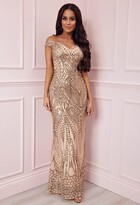 Pink Boutique Limited Edition Avella Gold Sequin Bardot Maxi Dress