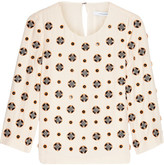Diane von Furstenberg Luna Embellished Silk-blend Crepe Top - Cream