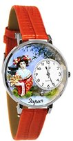 Whimsical Watches Women's U1420008 Unisex Silver Japan Red Leather And Silvertone Watch