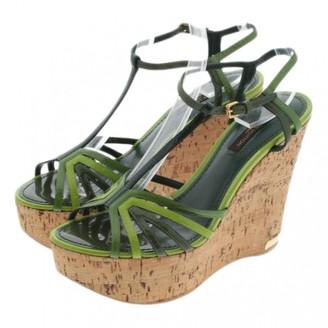 Louis Vuitton Green Leather Sandals