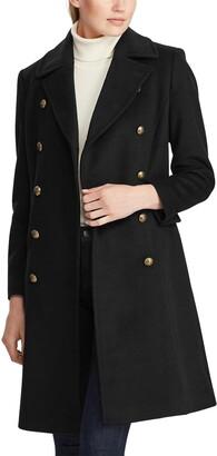 Lauren Ralph Lauren Military Skirted Wool Blend Coat