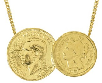 Katie Mullally American / English Yellow Gold Plated Double Coin Necklace
