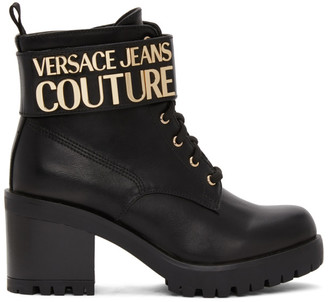 Versace Black Logo Lace Up Boots