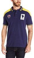 U.S. Polo Assn. Men's Slim Fit Solid Pique Polo with Shoulder Stripe