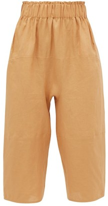 Loup Charmant Homer Paperbag-waist Cropped Linen Trousers - Light Brown