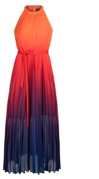 Rachel Roy Pleated Ombre Chiffon Maxi Dress
