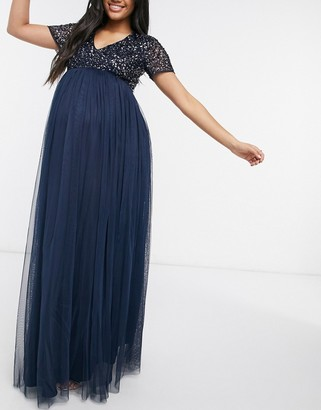 Maya Maternity Bridesmaid v neck maxi tulle dress with tonal delicate sequin in navy
