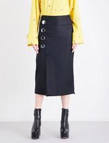 Marques Almeida Frayed-hem drill pencil skirt