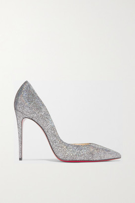 Christian Louboutin Iriza 100 Metallic Coated Leather Pumps - Silver