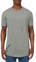 Topman Ripped Longline Crewneck T-Shirt