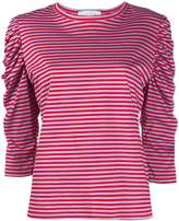 Danielapi striped ruched-sleeved top