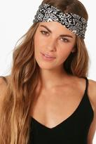 boohoo Ivy Aztec Print Turban Headband grey