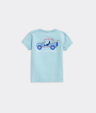 Vineyard Vines Girls' Printed Car Short-Sleeve Pocket Tee