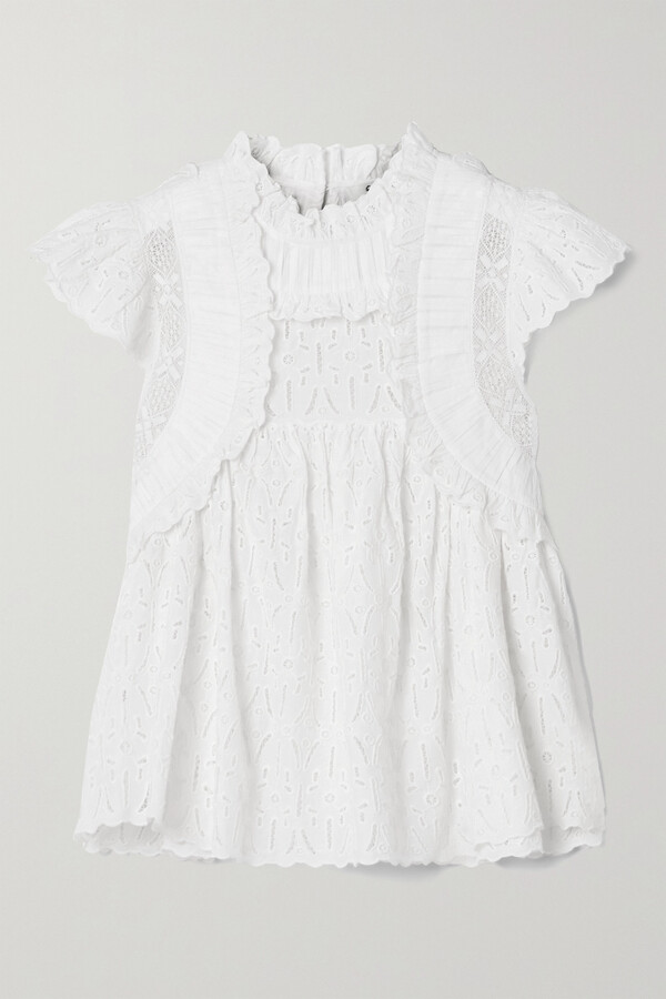 Sea Ingrid Ruffled Crochet-trimmed Broderie Anglaise Cotton Blouse - White