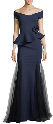 Chiara Boni Lady Cap-Sleeve Peplum Mermaid Gown