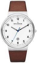 Skagen Skw6082 Klassik Leather Strap Watch, Brown/white