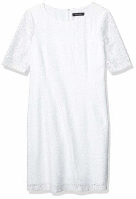 Ellen Tracy Women's White BATTENBURG LACE Dress 16