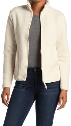Max Studio Faux Leather Trim Faux Shearling Zip Jacket